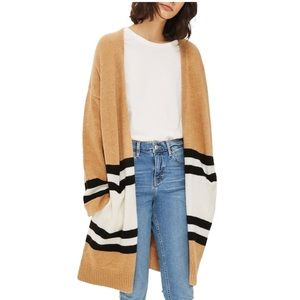 Topshop Stripe Oversized Color Block Cardigan